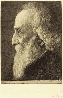 Self-portrait Drawing - Alphonse Legros, Self-portrait, 13th Plate by Quint Lox