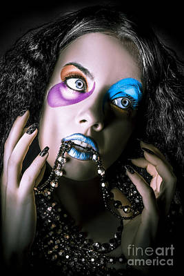 Alternative Fashion Model Face. Bright Makeup Art Print by Jorgo Photography - Wall Art Gallery