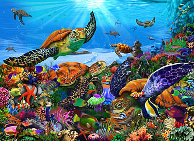 Gerald Drawing - Amazing Undersea Turtles by Gerald Newton