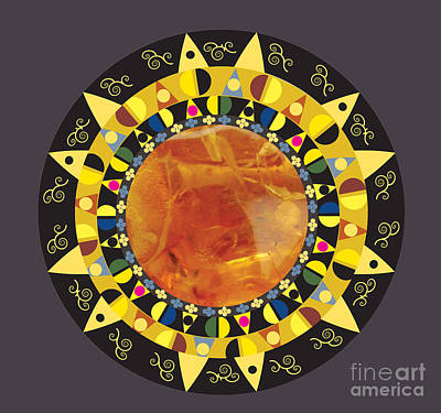 Art Print featuring the digital art Amber Mandala by Kim Prowse