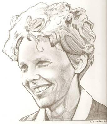 Aviator Drawing - Amelia Earhart Drawing by Robert Crandall