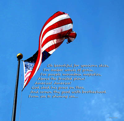 America The Beautiful - Us Flag By Sharon Cummings Song Lyrics Art Print by Sharon Cummings