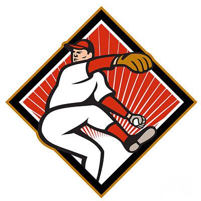 American Baseball Pitcher Throwing Ball Cartoon Art Print by Aloysius Patrimonio