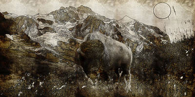 Landmarks Painting Royalty Free Images - American Bison in the Rockies Royalty-Free Image by Adam Asar