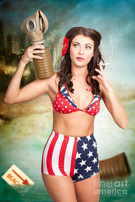 Photograph - American Danger Girl. Pinup Beauty On Toxic Beach by Jorgo Photography - Wall Art Gallery