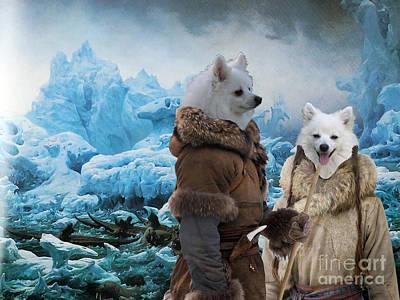 American Eskimo Dog Painting - American Eskimo Dog Art Canvas Print by Sandra Sij