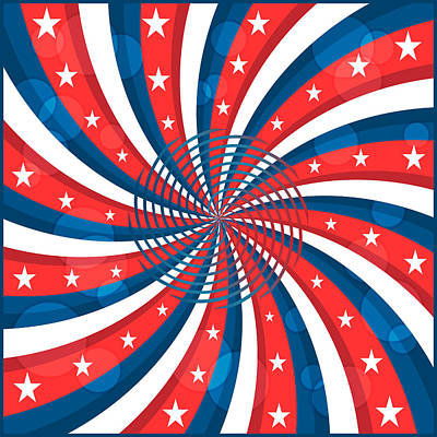 Election Day Digital Art - American Flag Stars And Swirly Stripes by Toots Hallam