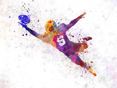 Playing Football Painting - American Football Player Catching Ball  Silhouette by Pablo Romero