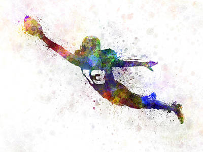 Playing Football Painting - American Football Player Scoring Touchdown by Pablo Romero