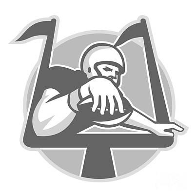 Scoring Digital Art - American Football Player Touchdown Grayscale by Aloysius Patrimonio
