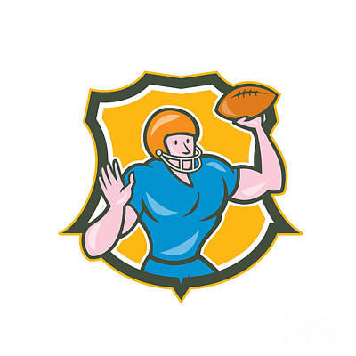 American Football Qb Throwing Shield Retro Print by Aloysius Patrimonio