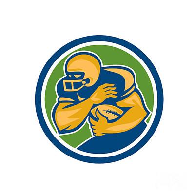 Tailback Digital Art - American Football Running Back Fending Circle by Aloysius Patrimonio