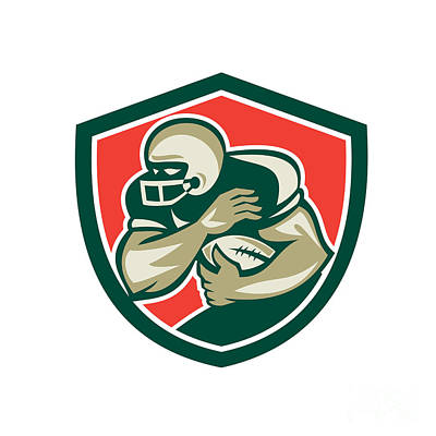 American Football Running Back Fending Shield Art Print by Aloysius Patrimonio