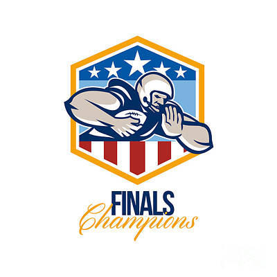 American Football Running Back Finals Champions Art Print by Aloysius Patrimonio