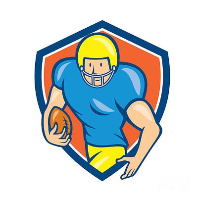 Tailback Digital Art - American Football Running Back Shield Cartoon by Aloysius Patrimonio