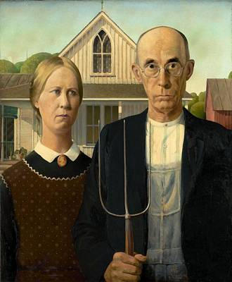 Shirt Painting - American Gothic by Grant Wood