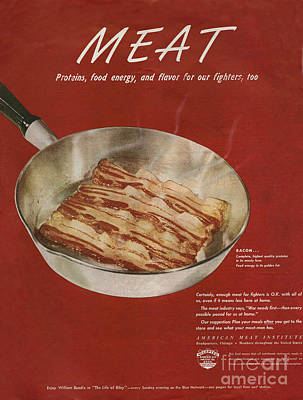 50s Drawing - American Meat Institute 1950s Usa Bacon by The Advertising Archives