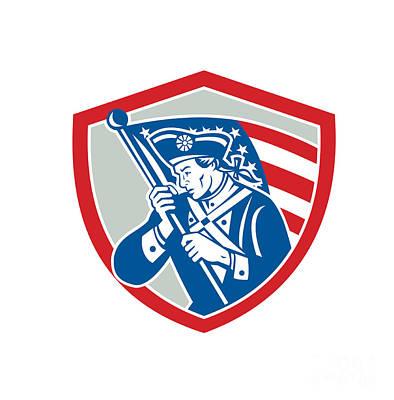 Waving Flag Digital Art - American Patriot Soldier Waving Flag Shield by Aloysius Patrimonio