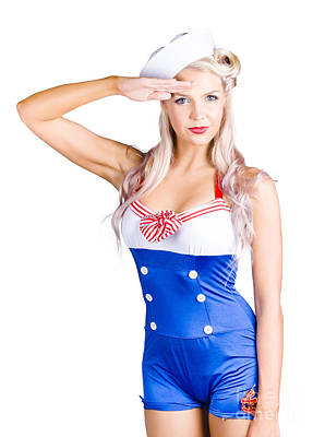 American Pinup Girl Sailor Saluting A Yes Sir Art Print by Jorgo Photography - Wall Art Gallery