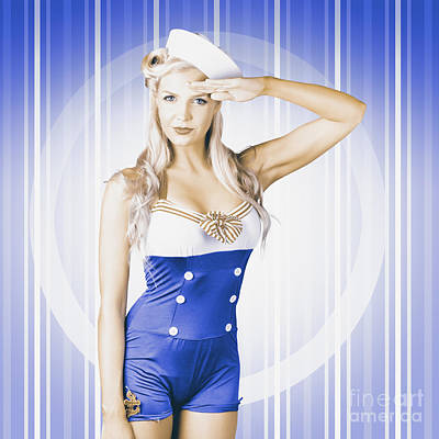 American Pinup Poster Girl In Military Uniform Art Print