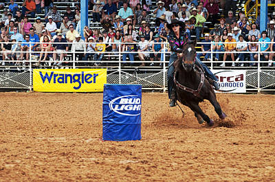 Wild Racers Photograph - American Rodeo Female Barrel Racer White Star Horse II by Sally Rockefeller
