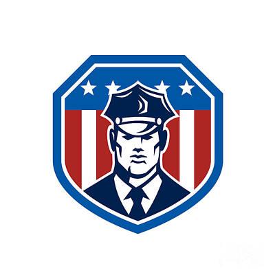 Police Officer Digital Art - American Security Guard Flag Shield Retro by Aloysius Patrimonio
