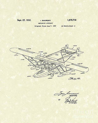 Plane Drawing - Amphibian Aircraft 1932 Patent Art by Prior Art Design