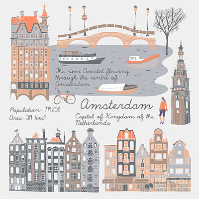 Colorful Boats Wall Art - Digital Art - Amsterdam, Print Design by Lavandaart