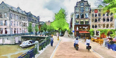 Old Town Digital Art - Amsterdam Streets 1 by Yury Malkov