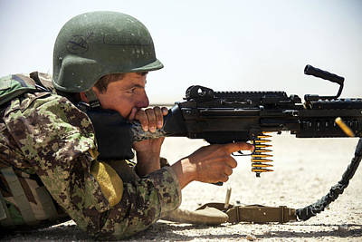 Afghan National Army Photograph - An Afghan National Army Soldier Fires by Stocktrek Images