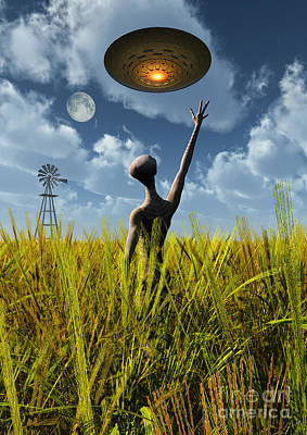 Agriculture Digital Art - An Alien Being Directing A Ufo by Mark Stevenson