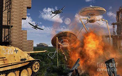 Destruction Digital Art - An Alternate Reality Where Allied by Mark Stevenson