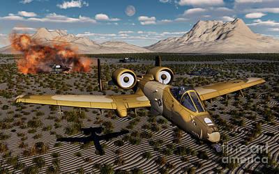 An American A-10 Thunderbolt Using Art Print by Mark Stevenson