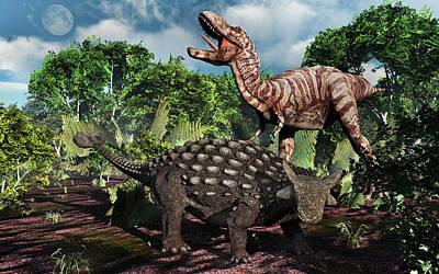 An Armored Ankylosaurus Protecting Art Print by Mark Stevenson