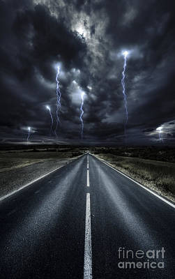 Landscapes Royalty-Free and Rights-Managed Images - An Asphalt Road With Stormy Sky Above by Evgeny Kuklev
