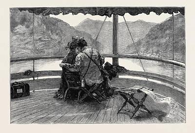 Switzerland Drawing - An Autumn Tour In Switzerland On The Rhine Boat by Swiss School