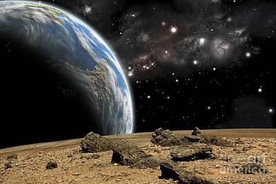 Soil Digital Art - An Earth-like Planet Rises Over A Rocky by Marc Ward