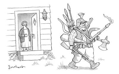 October 3rd Drawing - An Elderly Woman Calls Out From The Front Door by David Borchart