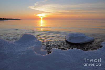 An Icy  Superior Sunrise Art Print by Sandra Updyke
