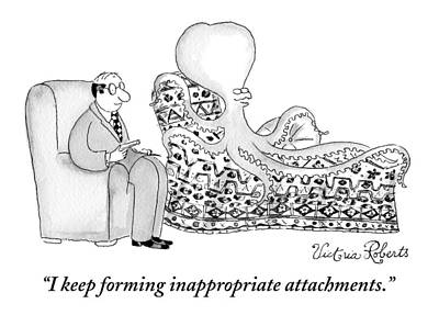 Couch Drawing - An Octopus Or Squid Lays On A Psychiatrist Or by Victoria Roberts
