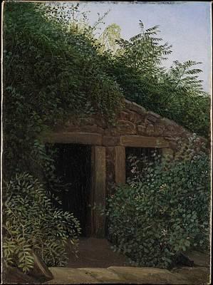 Cardboard Painting - An Overgrown Mineshaft by Carl Gustav Carus