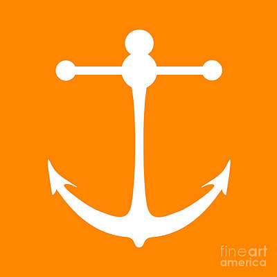 Digital Art - Anchor In Orange And White by Jackie Farnsworth