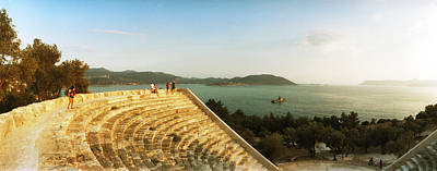 Ancient Civilization Photograph - Ancient Antique Theater At Sunset by Panoramic Images