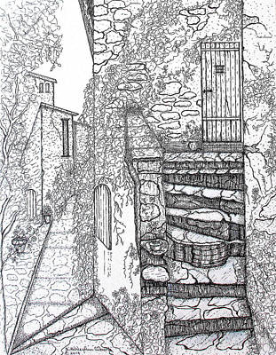 Drawing - Ancient Crumbling Stone Steps Black And White by Ashley Goforth