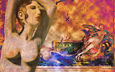 Buy Digital Art - Ancient Cyprus Map And Aphrodite by Augusta Stylianou