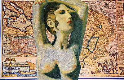 Digital Art - Ancient Middle East Map And Aphrodite by Augusta Stylianou