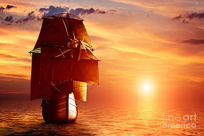 Exploration Photograph - Ancient Pirate Ship Sailing On The Ocean At Sunset by Michal Bednarek