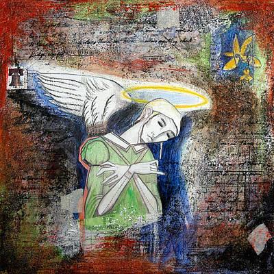 Angel And Man Print by Chris Bradley