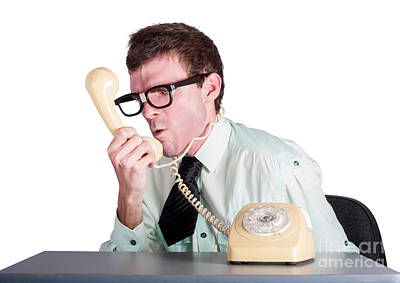 Angry Businessman Yelling Down Phone Art Print by Jorgo Photography - Wall Art Gallery
