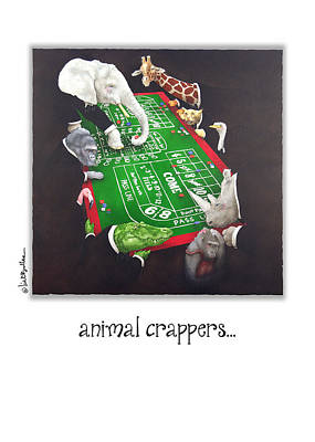 Crocodile Painting - Animal Crappers... by Will Bullas